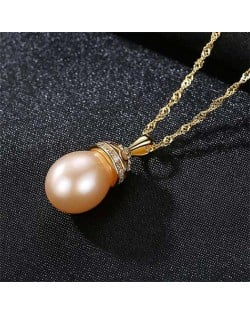 Wholesale 925 Sterling Silver Jewelry Hollow-out Crown Design Pearl Necklace - Pink