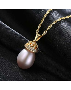 Wholesale 925 Sterling Silver Jewelry Hollow-out Crown Design Pearl Necklace - Purple