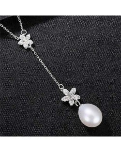 Wholesale 925 Sterling Silver Jewelry Cubic Zirconia Embellished Lily and Pearl Tassel Pendant Necklace - White