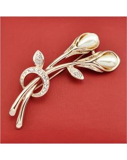Rhinestone and Pearl Embellished 18K Rose Gold Brooch