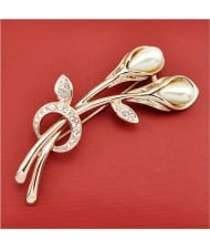 Rhinestone and Pearl Embellished 18K Rose Gold Brooch