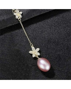 Wholesale 925 Sterling Silver Jewelry Cubic Zirconia Embellished Lily and Pearl Tassel Pendant Necklace - Purple