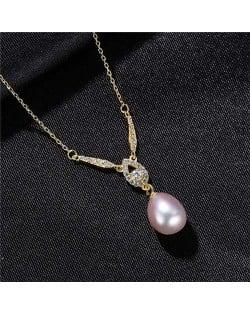 Graceful Design Teardrop Shape Pearl Pendant Wholesale 925 Sterling Silver Necklace - Purple
