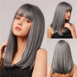 Gray Straight Long Hair with Bangs Synthetic Hair Women Wholesale Fashion Wig