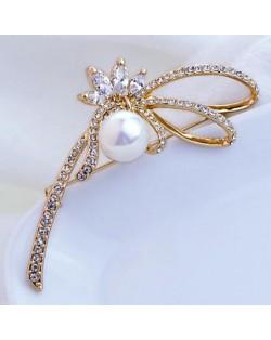 18K Rose Gold Ladybug Shape Pearl Brooch