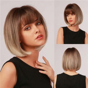 Brown Color Short Straight with Cute Bangs Synthetic Women Wholesale Wig