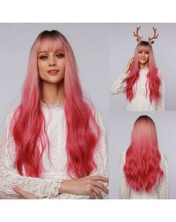 Gradient Red Color Curly Long Synthetic Hair Women Wholesale Wig