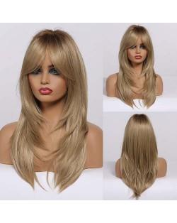 Light Golden Color Straight Long Synthetic Hair Elegant Women Wholesale Wig