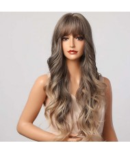 Gradient Brown Color Curly Long Synthetic Hair with Bangs U.S. Fashion Women Wholesale Wig