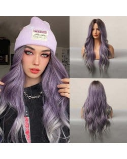 Gradient Purple Color Curly Long Synthetic Hair Central Parting U.S. Pop Fashion Women Wholesale Wig