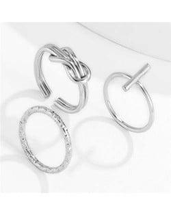 Wholesale Jewelry Cross Theme Weaving Style Fashion Open Women Statement Rings Set - Silver