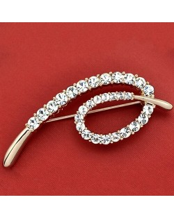 Rhinestone Embellished Simplistic Design 18K Rose Gold Brooch