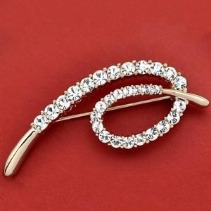 Rhinestone Embellished Simplistic Design 18K Rose Gold Brooch