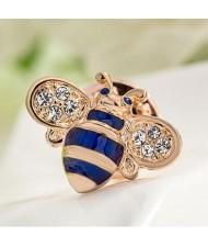 Little Bee Design 18K Rose Gold Brooch - Blue