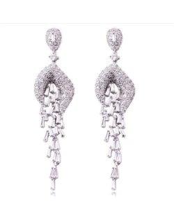 Luxurious Cubic Zirconia Wholesale Jewelry Wedding Fashion Long Dangle Copper Earrings - Silver