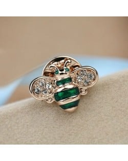 Little Bee Design 18K Rose Gold Brooch - Green