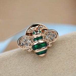 Little Bee Design 18K Rose Gold Brooch - Green