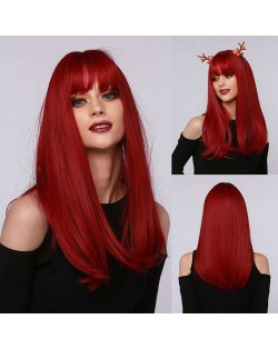 Red Color Straight Long Synthetic Hair with Bangs Women Cosplay Wholesale Wig