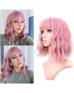 Smoky Pink Color Curly Long Synthetic Hair with Bangs Women U.S. Fashion Wholesale Wig