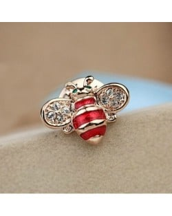 Little Bee Design 18K Rose Gold Brooch - Red