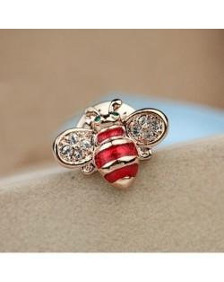 Little Bee Design 18K Rose Gold Brooch - Red