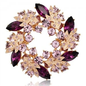 Splendid Bauhinia Garland Rose Gold Brooch - Purple
