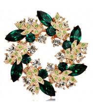 Splendid Bauhinia Garland Rose Gold Brooch - Green
