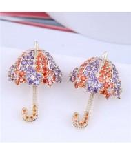 Dazzling Shining Cubic Zirconia Cute Umbrella Fashion Wholesale Jewelry Golden Earrings - Orange Lavender