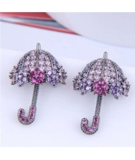Dazzling Shining Cubic Zirconia Cute Umbrella Fashion Wholesale Jewelry Golden Earrings - Purple Rose