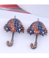 Dazzling Shining Cubic Zirconia Cute Umbrella Fashion Wholesale Jewelry Golden Earrings - Ink Blue Orange