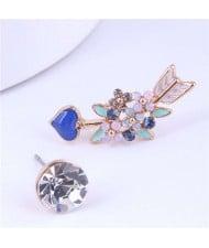Wholesale Floral Cluster Arrow Modeling Fashion Jewelry Asymmetric Earrings