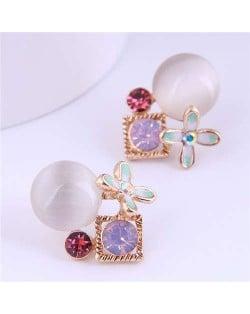 Korean Fashion Wholesale Jewelry Mini Flower and Opal Combo Women Earrings
