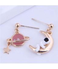 Unique Design Planet and Astronaut Golden Asymmetric Wholesale Earrings