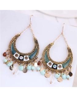Bohemian Style Wholesale Fahion Jewelry Vintage Teardrop Tassel Bold Earrings