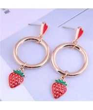 Exquisite Romantic Hoop with Red Strawberry Wholesale Drop Earrings