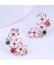 Lovely Fashion Jewelry Wholesale Bling Rhinestone Oil-spot Glaze Bloom Earrings