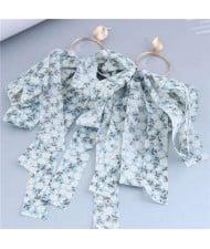 European and U.S Fashion Floral Cloth Tassel Long Wholesale Earrings - Blue
