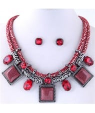 Rhinestone and Stone Gems Square Fashion Dual Layers Design Necklace and Earrings Set - Red