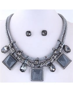 Rhinestone and Stone Gems Square Fashion Dual Layers Design Necklace and Earrings Set - Gray