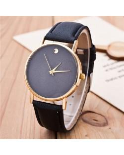 High Fashion Scaleless Design Wrist Watch - Black
