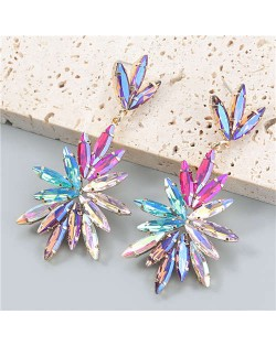 Leaf Shape Colorful Rhinestone Inlaid Floral Abstract Prints Wholesale Bohemian Jewelry Women Earrings - Multicolor