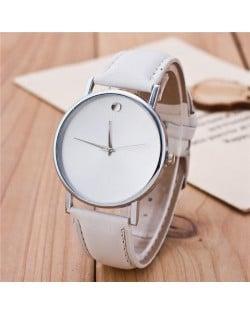 High Fashion Scaleless Design Wrist Watch - White