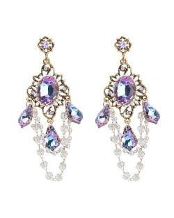 Bohemian Wholesale Jewelry Voliet Vintage Floral Waterdrop Tassel Pendant Desgin Women Dangle Earrings