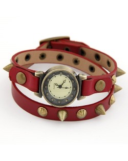 Punk Rivets Style Red Leather Wrist Fashion Watch