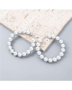 Glistening Round Shape Artificial Pearl Minimalist Wholesale Jewelry Huggie Earrings - Silver
