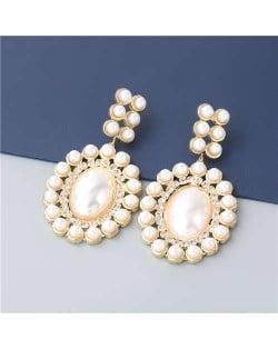 Rhinestone Embellished Artificial Pearl Design Round Shape Korean Fashion Wholesale Women Earrings - Golden
