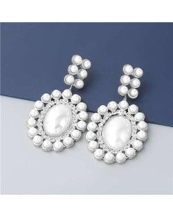 Rhinestone Embellished Artificial Pearl Design Round Shape Korean Fashion Wholesale Women Earrings - Silver