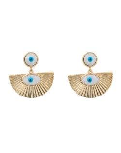 Fan-shaped Oil-spot Glazed Eye Abstract Design Wholesale Bohemian Style Women Dangle Earrings