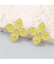 U.S Vintage Wholesale Jewelry Oil-spot Glazed Flower Design Rhinestone Minimalist Ear Studs - Yellow