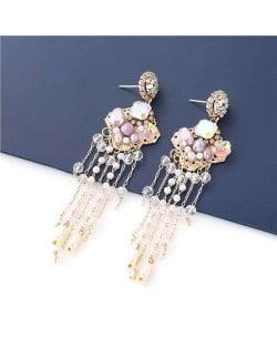 Korean Jewelry Wholesale Acrylic Pearl Tassel Flower Design Bohemian Women Dangle Earrings - Purple